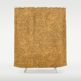 Earthy Natural Organic Pattern - Cinnamon & gold colors Shower Curtain