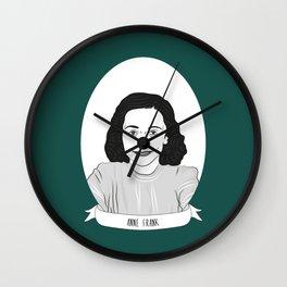 Anne Frank Illustrated Portrait Wall Clock