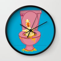 toilet Wall Clocks featuring Toilet Duckling by Chris Piascik