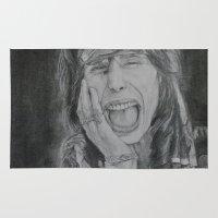 tyler durden Area & Throw Rugs featuring Steven Tyler by Jenn