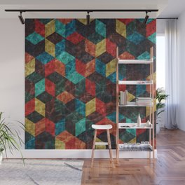 Colorful Isometric Cubes Wall Mural