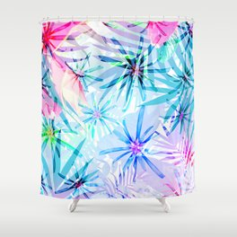 Flashy Colorful Tropical Flowers Design Shower Curtain