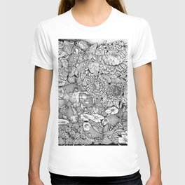Gold Fish in the Pond, Peaceful Sparrows and Blooming Chrysanthemums by Kent Chua T-shirt