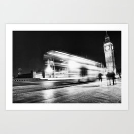 Bus passing Westminster B&W Art Print