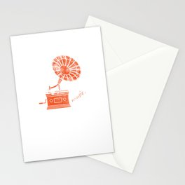 Music Box Classic Vintage Gramophone Music Lovers Gift Stationery Cards