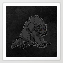 Crouching Werewolf Art Print