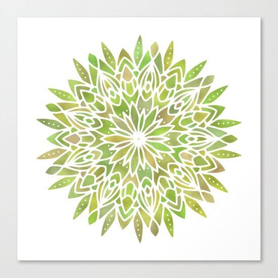 Mandala Desert Cactus Green Canvas Print