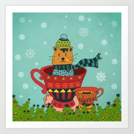 Christmas Kitty in a Teacup Art Print