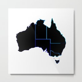 Australia States In Silhouette Metal Print