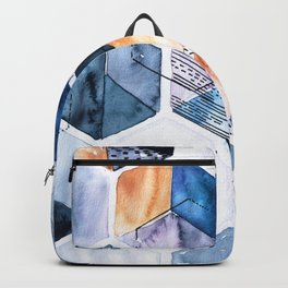 Flying cubes with blue watercolor Backpack