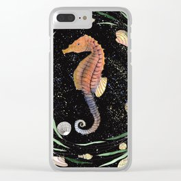 seahorse with nautical wreath and galaxy background Clear iPhone Case
