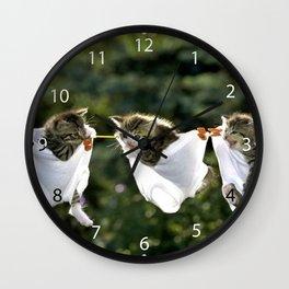 Kittens in underwear on clothesline Wall Clock