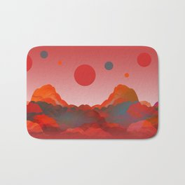 """Coral Pink Sci-Fi Mountains"" Bath Mat"