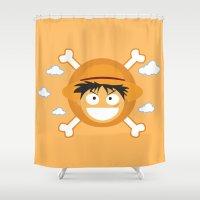 luffy Shower Curtains featuring Captain Monkey D. Luffy by ARI RIZKI