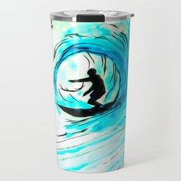 Lone Surfer Tubing the Big Blue Wave Travel Mug
