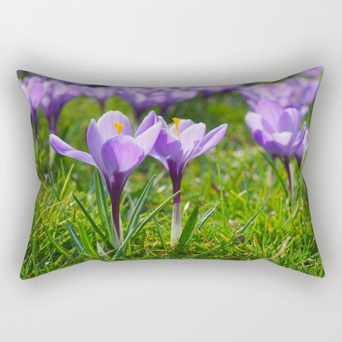 Purple Crocuses Rectangular Pillow