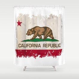 California Republic flag on woodgrain   Shower Curtain