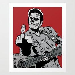 Johnny Cash Zombie Portrait Giving the Finger Print Art Print