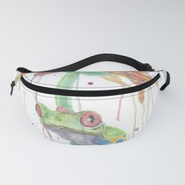 """Watercolor Painting of Picture """"Red Eyed Frog"""" Fanny Pack"""