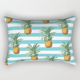 Pineapples stripes Exotic Teal Rectangular Pillow