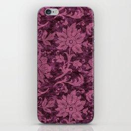 Burgundy Turquoise Velvet Floral Pattern 03 iPhone Skin