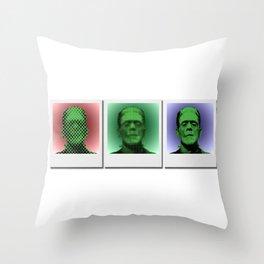 Polaroids of Frankenstein's Monster Throw Pillow