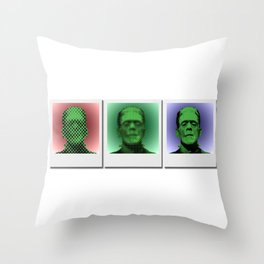 Polaroids of Frankenstein's Monster Throw Pillow