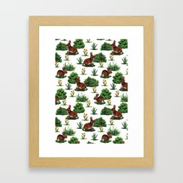 A Bevy Of Bunnies - Rabbit Pattern With Yellow Flower & Green Shrubs Framed Art Print