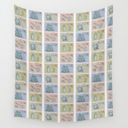 Minerology Quartz Crystal Postage Stamps Wall Tapestry