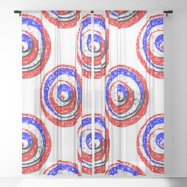 Polka Dot Red White Blue Marble Stacked Tiles Sheer Curtain
