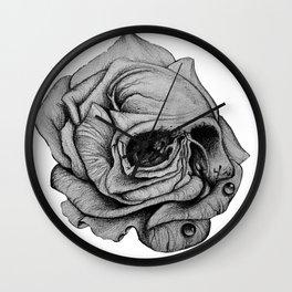 Half rose skull Wall Clock