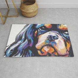 black and tan Cavalier King Charles Spaniel Dog Portrait Pop Art painting by Lea Rug