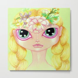 Spring Flower Girl Metal Print