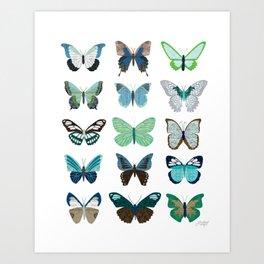 Green and Blue Butterflies Art Print