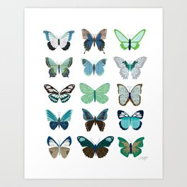 Green and Blue Butterflies Art Print