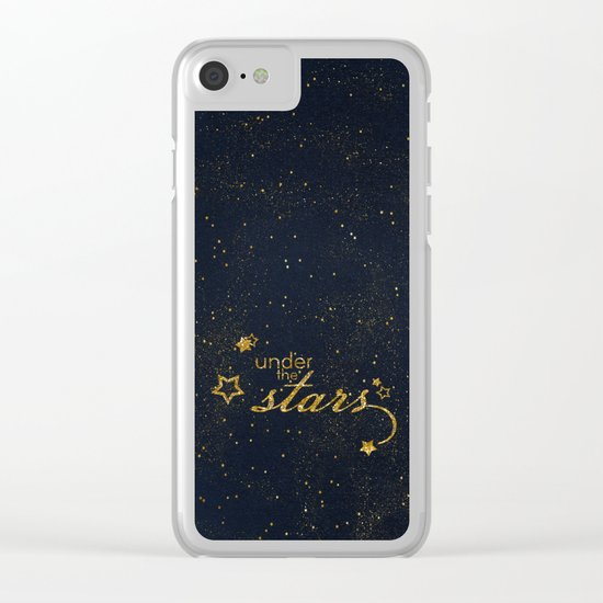 Under the stars- sparkling night typography Clear iPhone Case