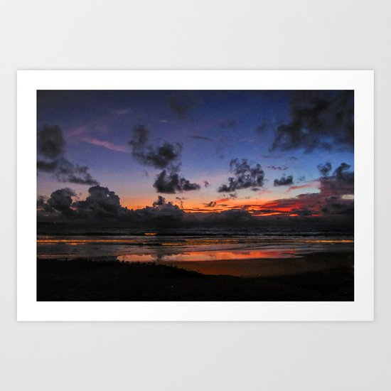 Beach Sunset - Painted Effect Art Print