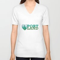portland V-neck T-shirts featuring Portland Love by Eric-Bird