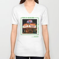 theatre V-neck T-shirts featuring Plaza Theatre by ATL Landmark Art (Robyn Siani)