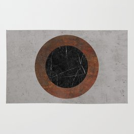 Concrete, Rusted Iron, and Black Marble Abstract Rug