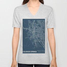 Colorado Springs Blueprint Street Map, Colorado Springs Colour Map Prints Unisex V-Neck