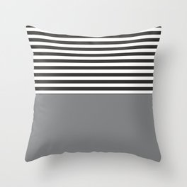 Gray Half Striped Throw Pillow
