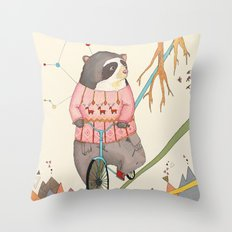 Bear in bicycle Throw Pillow