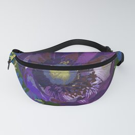 Purple Anemone Flower Art | Watercolor Floral Art Print | Blue Purple Floral Wall Decor Fanny Pack