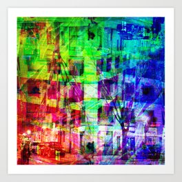 Across the street crossing in a myriad of manners. [RGB] Art Print