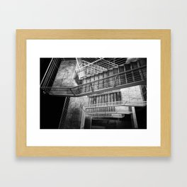 Exterior Stairway at the Getty bw Framed Art Print