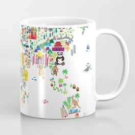 Animal Map of the World for children and kids Coffee Mug