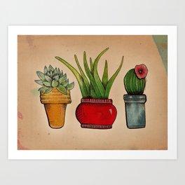 Little Miss Happy Plants Art Print