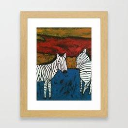 Zebra x 2 Framed Art Print