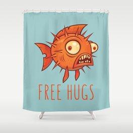 Free Hugs Cartoon Blowfish Shower Curtain